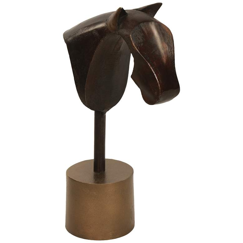"""Rustic Pawn II 14""""H Brown and Brass Decorative Statue"""
