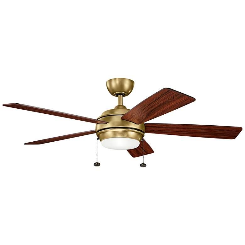 """52"""" Kichler Starkk Natural Brass LED Ceiling Fan"""