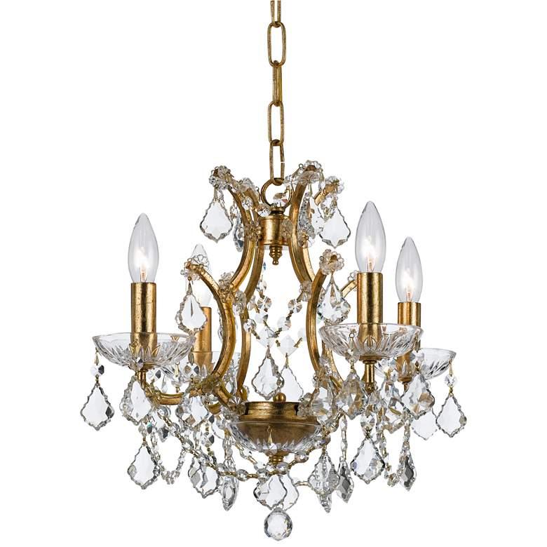 """Filmore 17 1/2"""" Wide Antique Gold Crystal 4-Light Chandelier"""