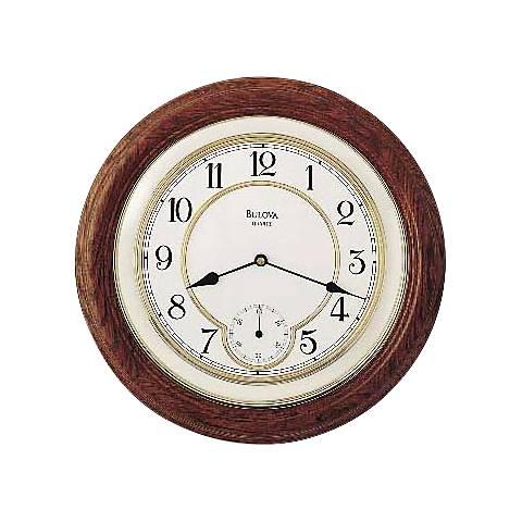 "Bulova William 14"" Round Oak Wall Clock"