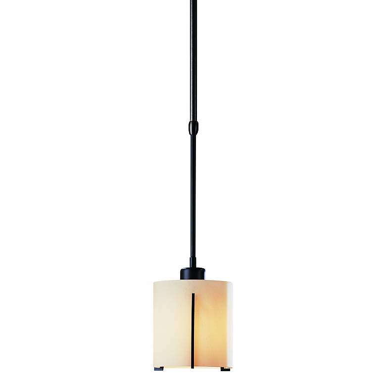 "Hubbardton Forge 5 1/2"" Wide Black Stone Tube Mini Pendant"