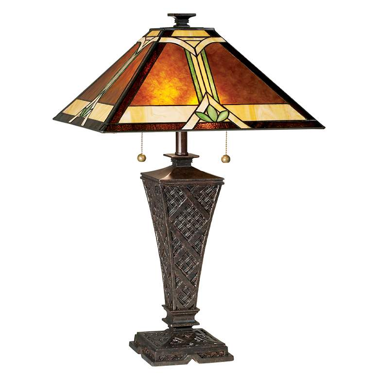 Mission Faux Wicker Tiffany-Style Table Lamp