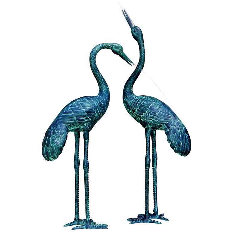 "Large Crane Birds 43"" High Spitter Pond Fountain"