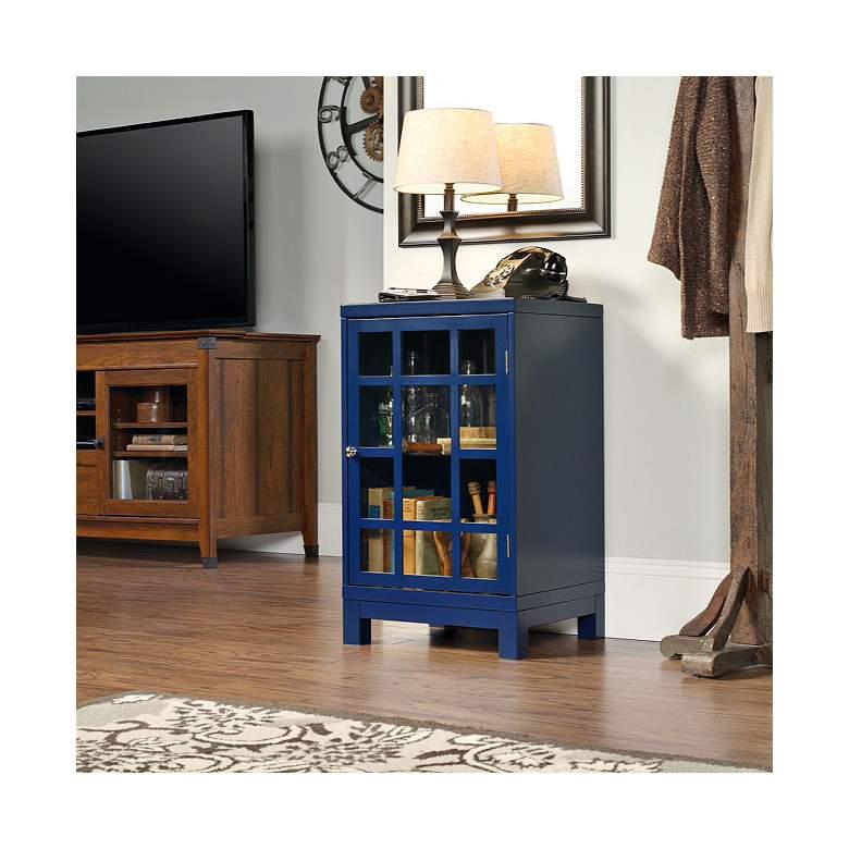 "Forge 30"" High Indigo Blue Glass Door Display Cabinet"