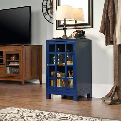 Sauder Carson Forge Indigo Blue 1-Door Display Cabinet