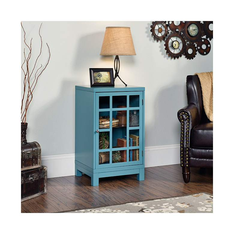 """Carson Forge 18"""" Glass Door Wide Moody Blue Display Cabinet"""