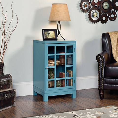 Sauder Carson Forge Moody Blue 1-Door Display Cabinet
