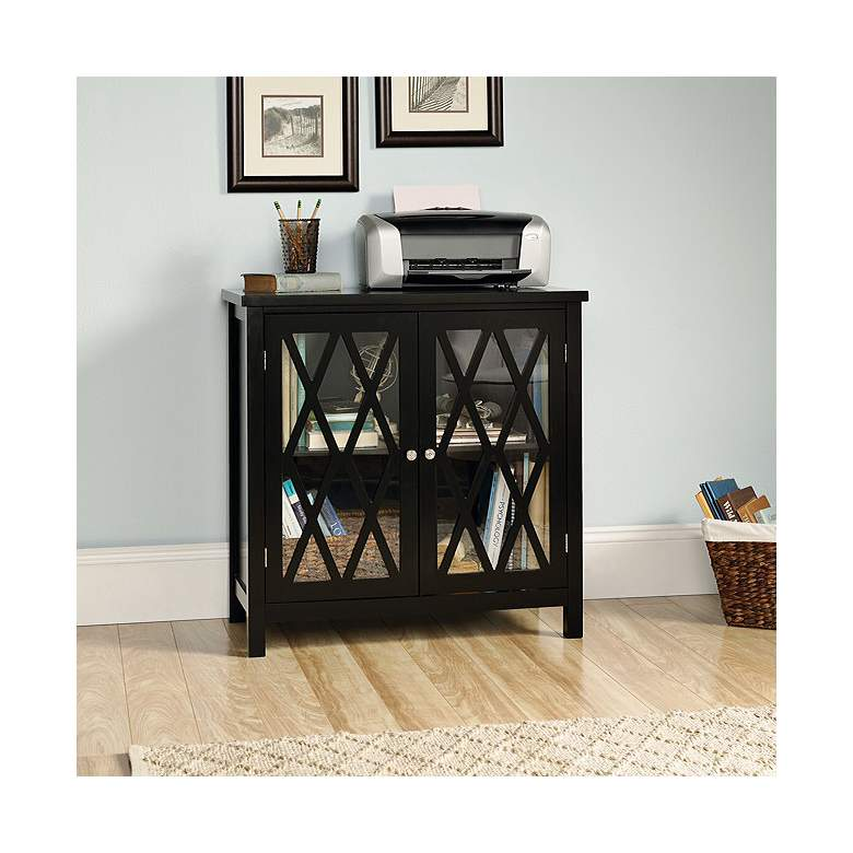 """Harbor View 31 1/2"""" Wide Black Finish Display Cabinet"""