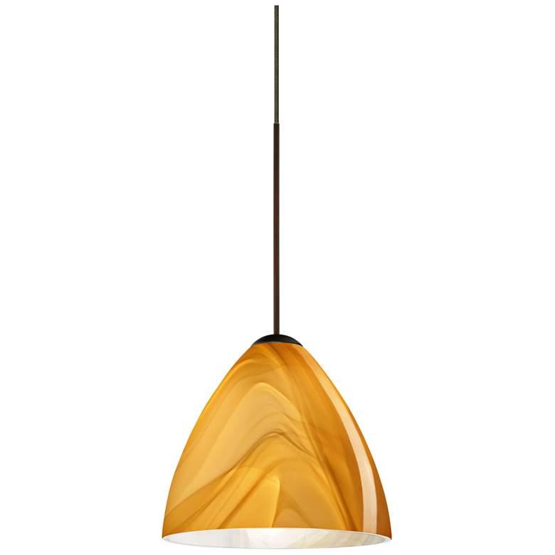 "Besa Mia 5"" Wide Bronze Honey Glass LED Mini Pendant"