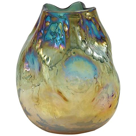 "Malagua Gold and Turquoise 10"" High Glass Vase"