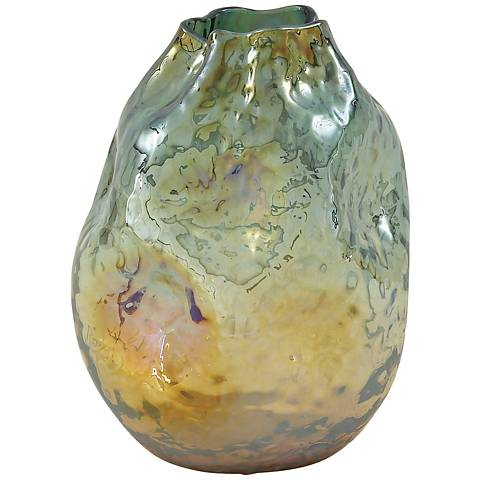 "Malagua Gold and Emerald Green 12"" High Glass Vase"