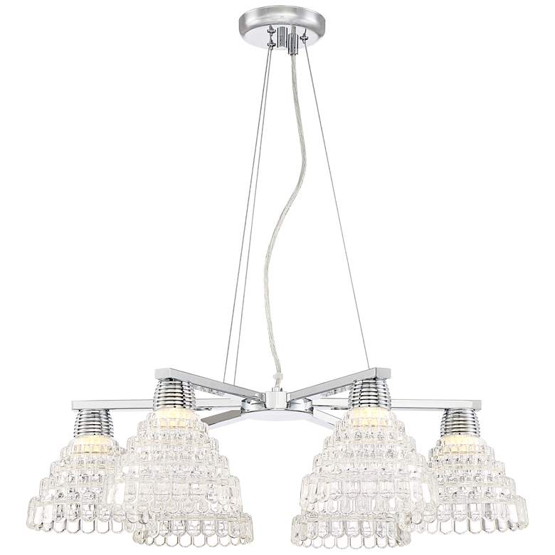 """Jonah 27"""" W Chrome and Clear Glass 6- Light LED Chandelier"""