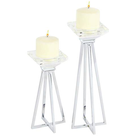 Briscoe Clear w/ Gray Metallic Pillar Candle Holder Set of 2