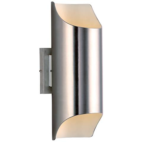 "Lightray 13 3/4""H Brushed Aluminum LED Outdoor Wall Light"