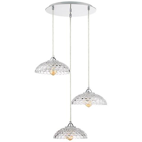 """Mills 22 1/2""""W Chrome and Clear Glass Multi Light Pendant"""