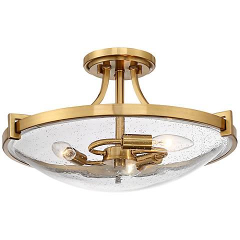 "Possini Euro Cove 17"" Wide Satin Brass 3-Light Ceiling Light"