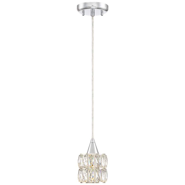 "Rome 4 1/4"" Wide Chrome and Clear Crystal Mini Pendant"