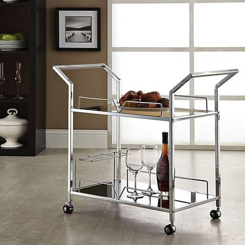 Usha Chrome and Black Glass Serving Cart