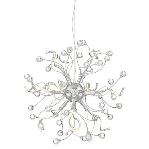 """New Bloom 22"""" Wide Chrome 14-Light Curly Burst LED Pendant"""