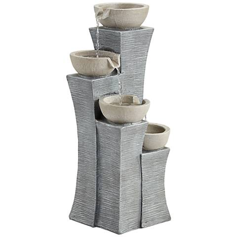 "Four Bowls 30"" High Gray Stone Indoor/Outdoor Fountain"