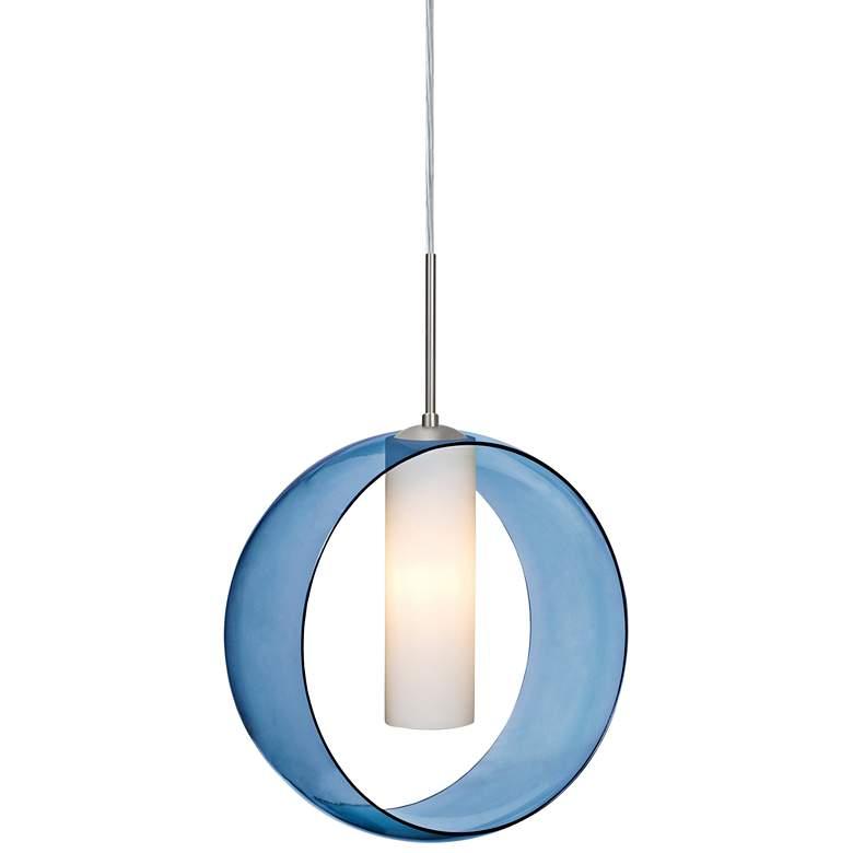 """Besa Plato 12"""" Wide Blue Glass Ring Mini Pendant"""