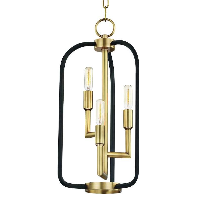 """Hudson Valley Angler 10""""W Aged Brass 3-Light Mini Chandelier"""