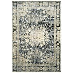 "Empire 4445S 5'3""x7'6"" Ivory and Blue Area Rug"