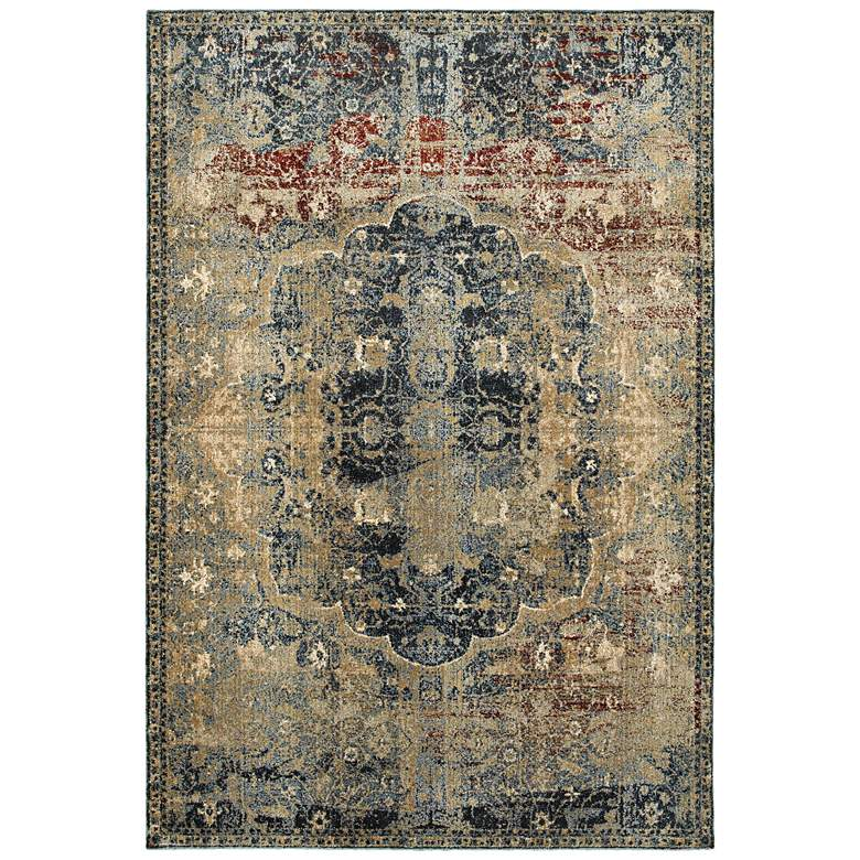 "Empire 4449H 5'3""x7'6"" Gold and Blue Area Rug"