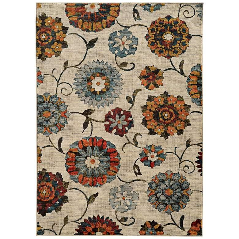 "Sedona 6361A 5'3""x7'6"" Multi-Color Ivory Floral Area Rug"