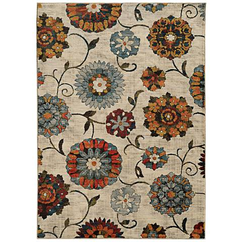 Sedona 6361A Multi-Color Ivory Floral Area Rug