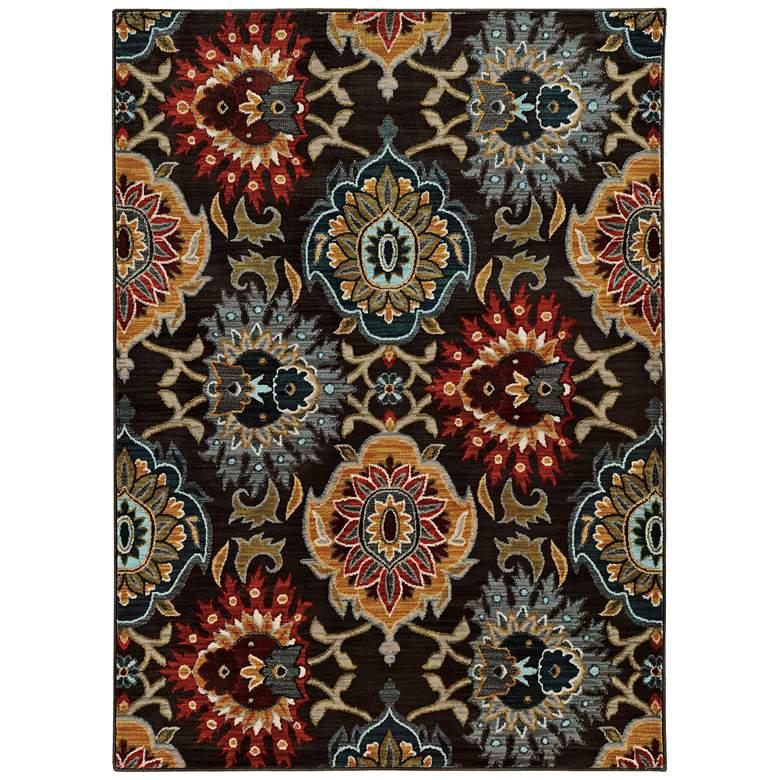 "Sedona 6369D 5'3""x7'6"" Multi-Color Gray Floral Area Rug"