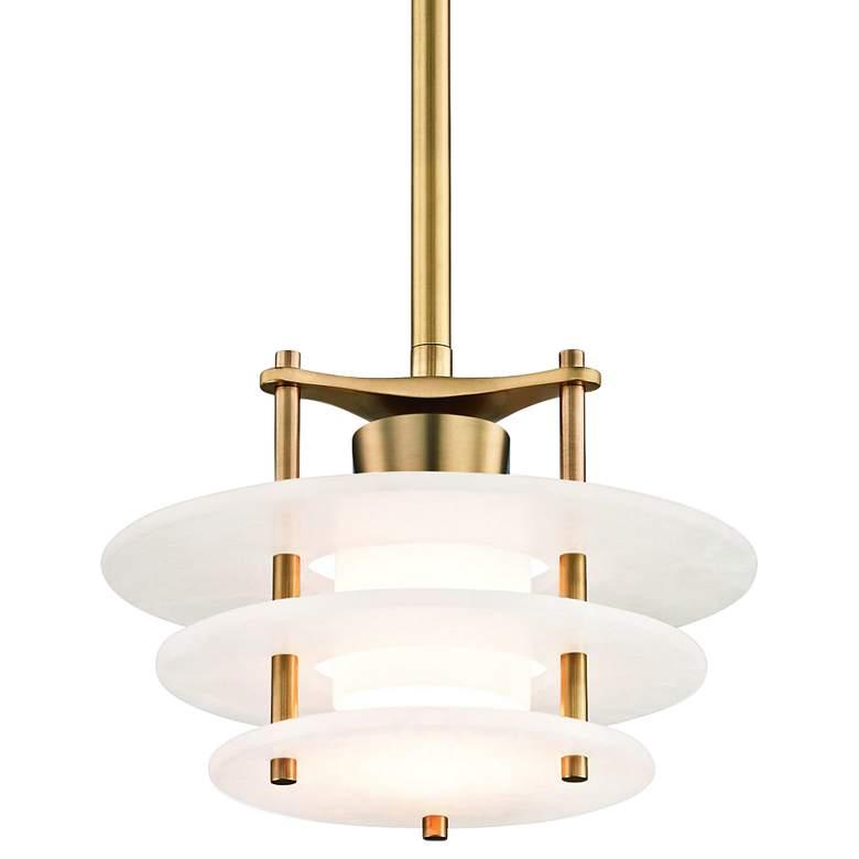 "Hudson Valley Gatsby 11 3/4""W Aged Brass LED Mini Pendant"