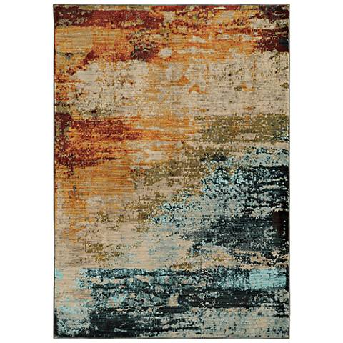 Sedona 6365A Blue and Red Abstract Area Rug