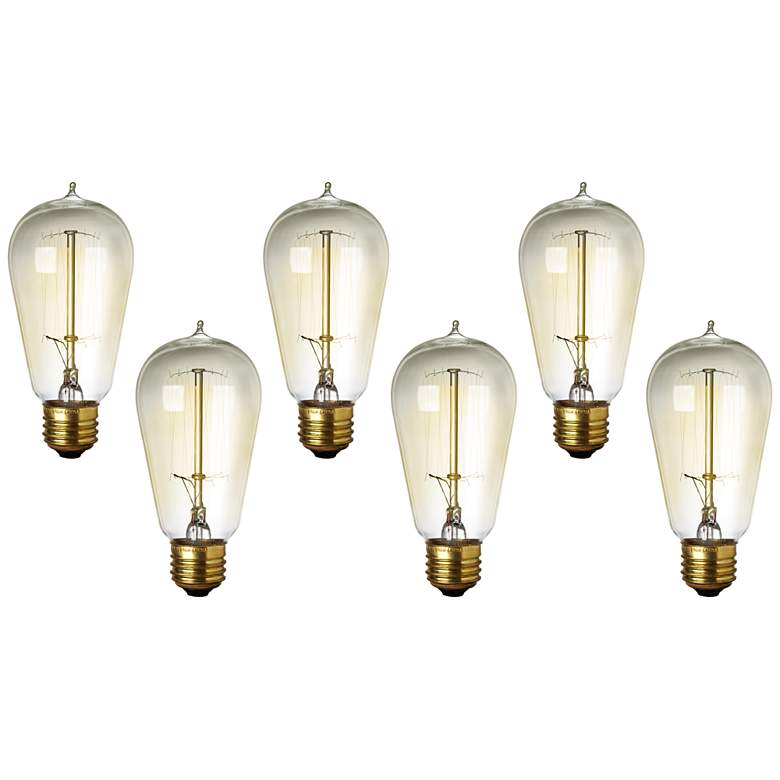 6-Pack of Amber 60 Watt Edison Style Medium Base Light Bulbs