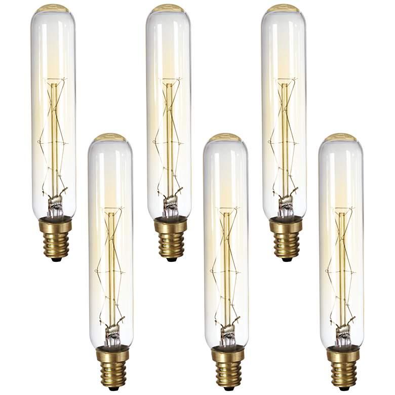 6-Pack 60 Watt Edison Tube Candelabra Base Light Bulbs