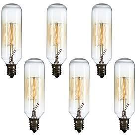 Tesler 60 Watt Candelabra T8 Edison Style Bulb 6 Pack