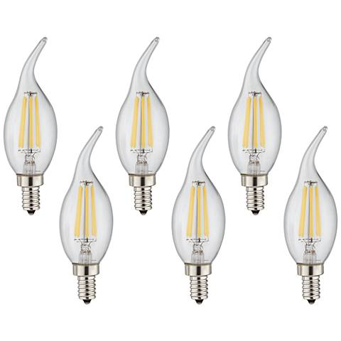 60W Equivalent 6W LED Dimmable Flame-Tip Candelabra 6-Pack