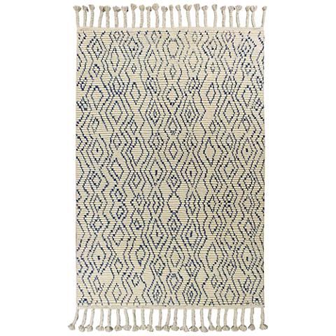 Austin 221 Ivory and Blue Mediterra Wool Area Rug