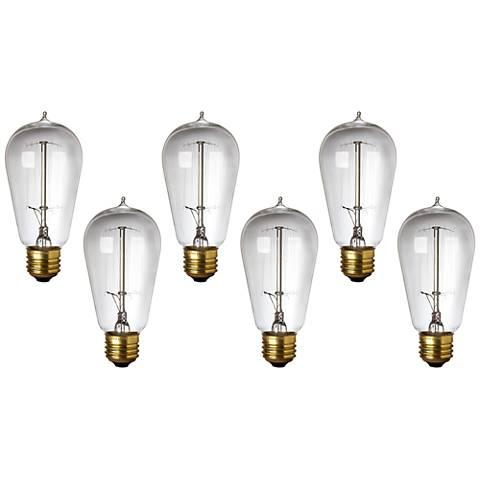 6-Pack 40 Watt Edison Style Medium Base Light Bulbs
