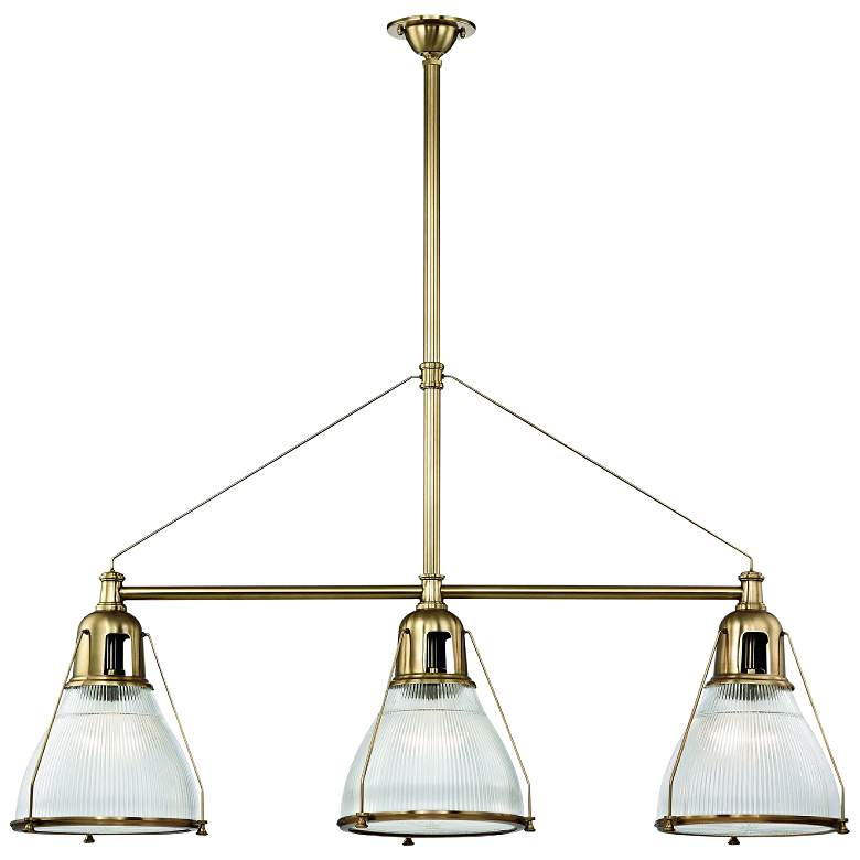 "Haverhill 48"" Wide Aged Brass Kitchen Island Light Pendant"