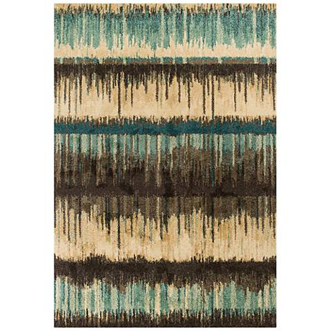 Barcelona 4476 Sand and Teal Palma Area Rug