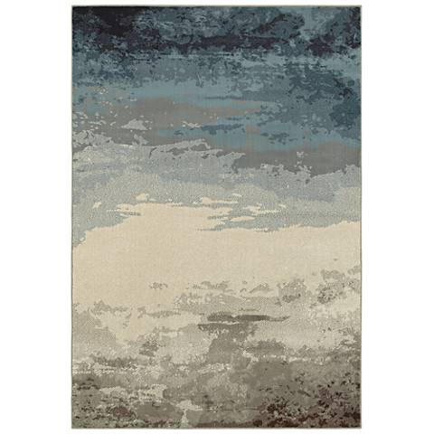 """Linden 7803A 9'10""""x12'10"""" Ombre Blue and Beige Area Rug"""