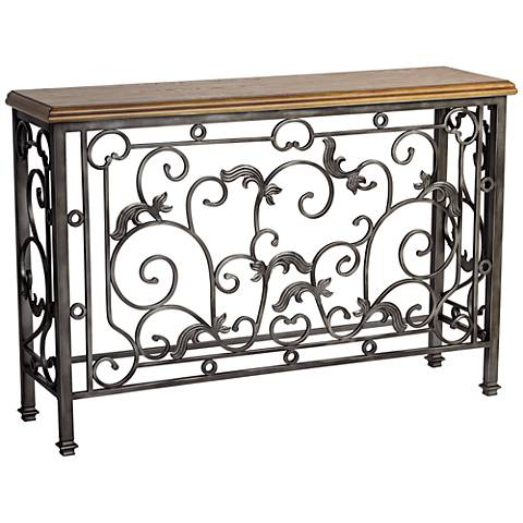 "Leda 50 1/2"" Wide Antique Pewter and Elm Wood Console Table"