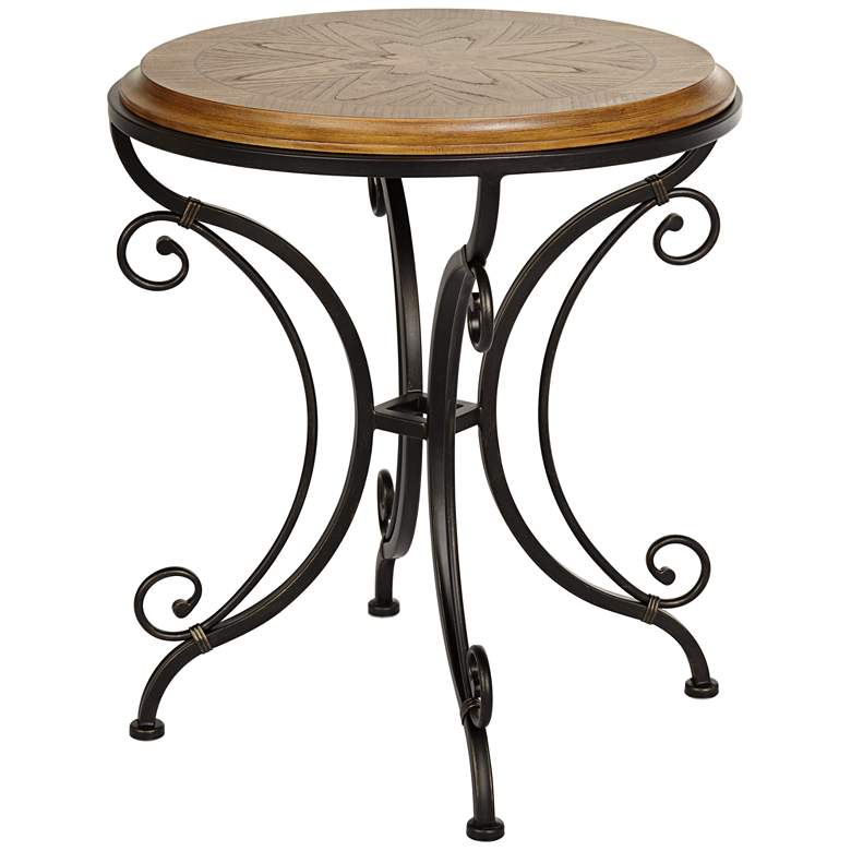"Leda 22 1/4"" Wide Gold Brushed Black Round Accent Table"