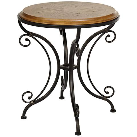 Leda Gold Brushed Black Round Accent Table