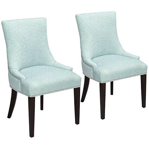 Mckenzie Blue Geometric Chenille Chairs Set of 2