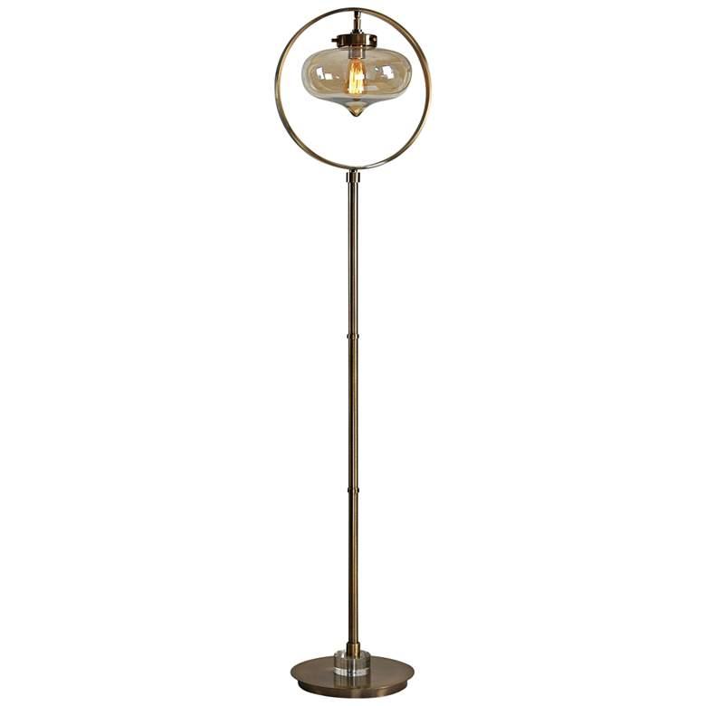 """Uttermost 67"""" High Namura Antique Brass Floor Lamp"""