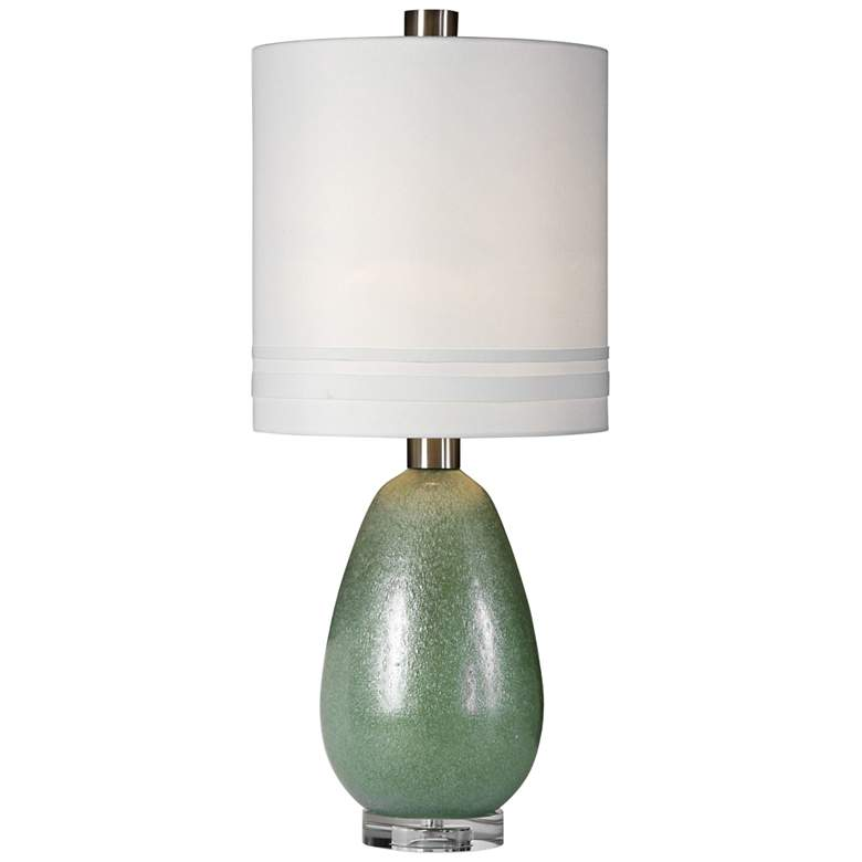 Uttermost Aileana Frosted Rust Green Glass Buffet Table Lamp