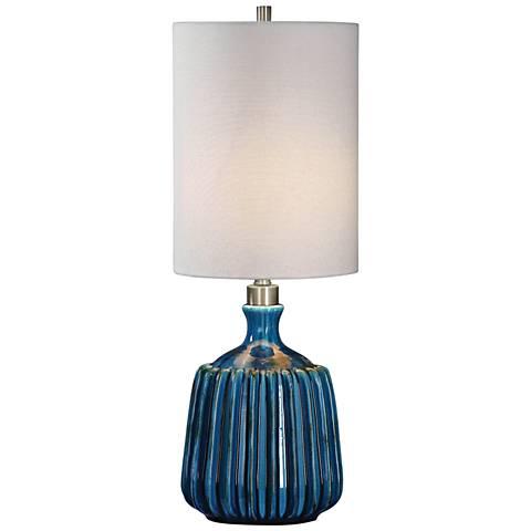 Uttermost Amaris Dark Blue Ceramic Buffet Table Lamp