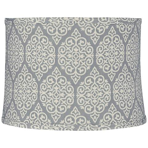 Gray w/ White Swirl Grid Round Lamp Shade 13x14x10 (Spider)